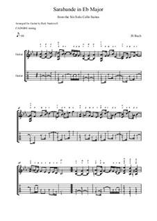 Suite for Cello No.4 in E Flat Major, BWV 1010: Sarabande, for guitar by Johann Sebastian Bach
