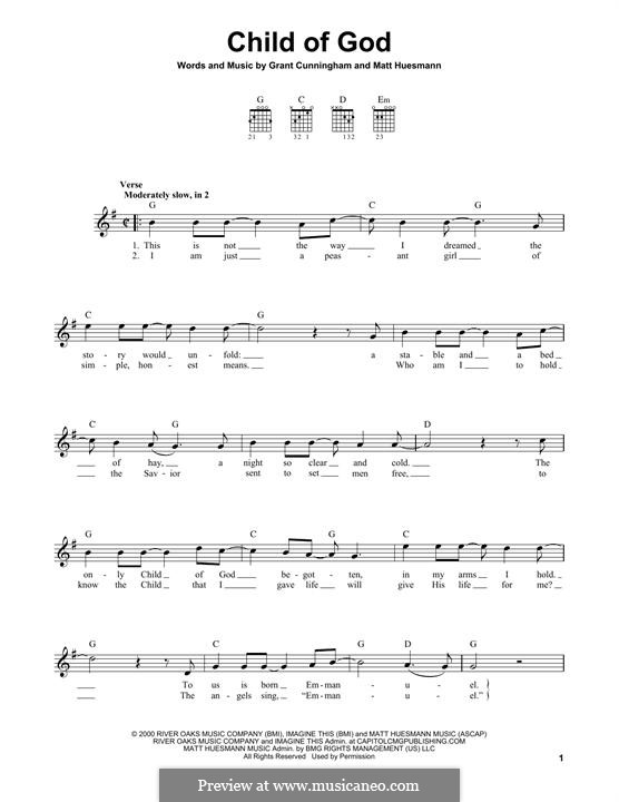 Child of God (Amy Grant): For guitar with tab by Grant Cunningham, Matt Huesmann