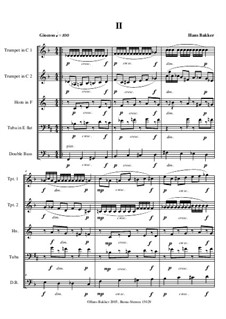 Quintetto for two trumpets, horn, tuba and double bass: Movement II by Hans Bakker