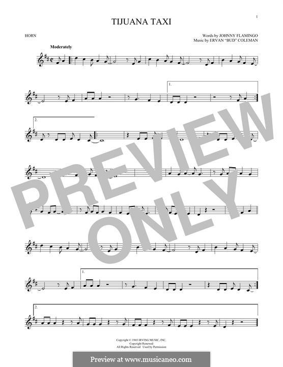 Tijuana Taxi (Herb Alpert & The Tijuana Brass Band): For horn by Ervan Coleman, Johnny Flamingo