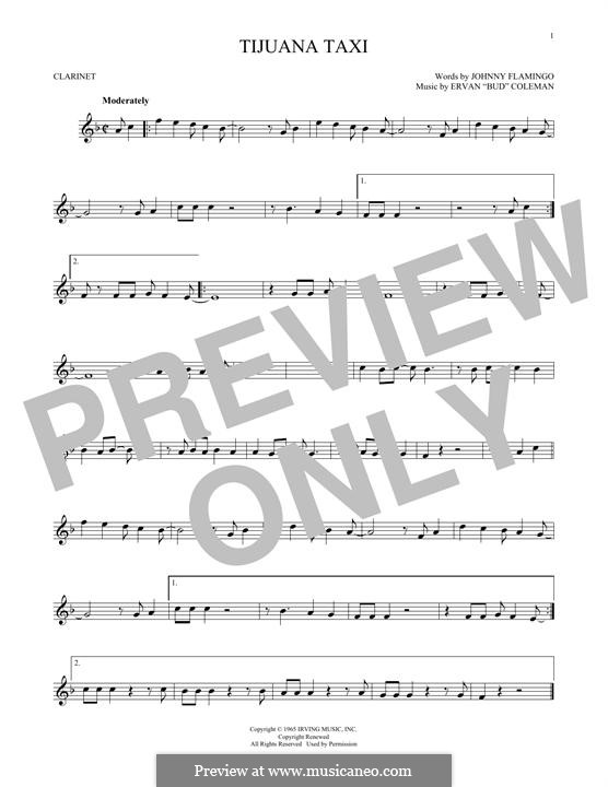Tijuana Taxi (Herb Alpert & The Tijuana Brass Band): For clarinet by Ervan Coleman, Johnny Flamingo