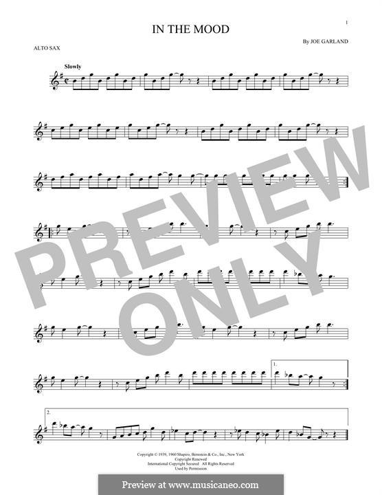 In the Mood (Glen Miller): For alto saxophone by Joe Garland