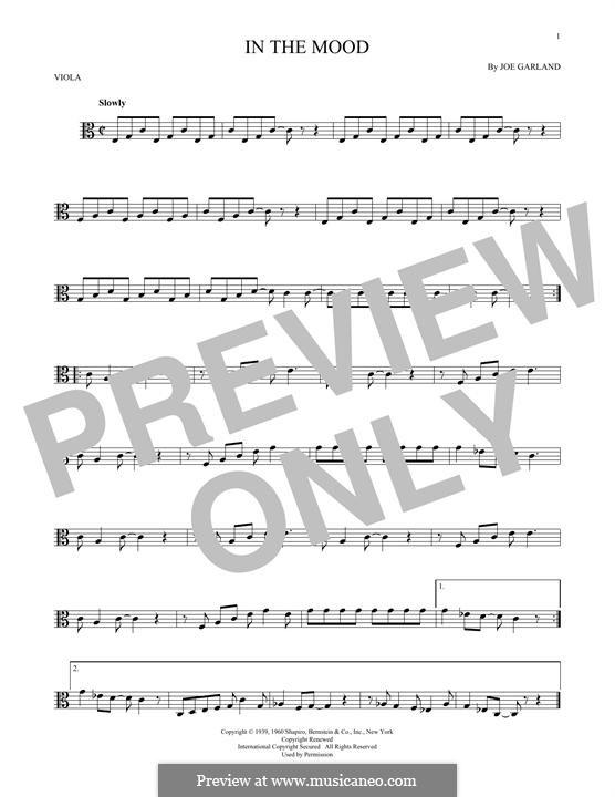 In the Mood (Glen Miller): For viola by Joe Garland