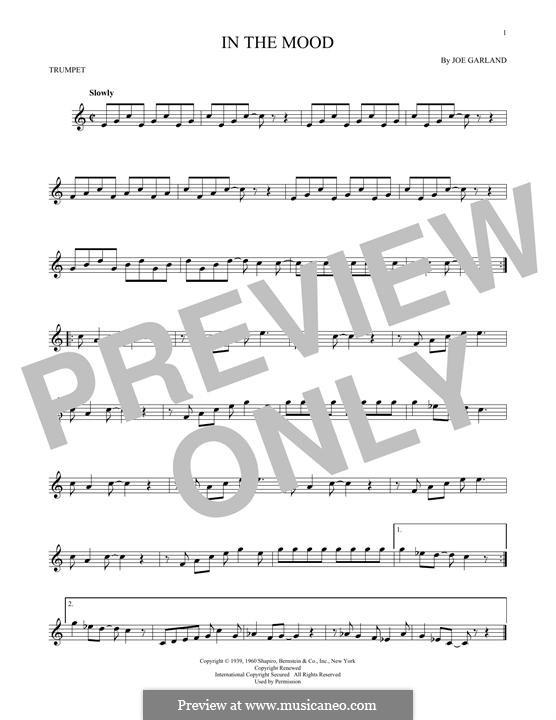 In the Mood (Glen Miller): For trumpet by Joe Garland
