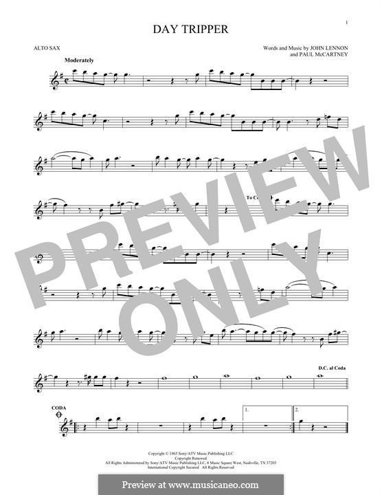 Day Tripper (The Beatles): For alto saxophone by John Lennon, Paul McCartney
