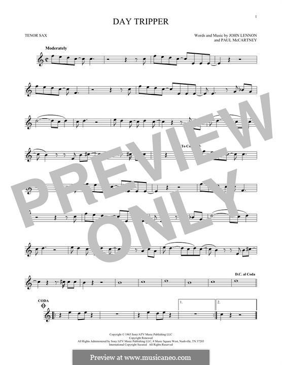 Day Tripper (The Beatles): For tenor saxophone by John Lennon, Paul McCartney