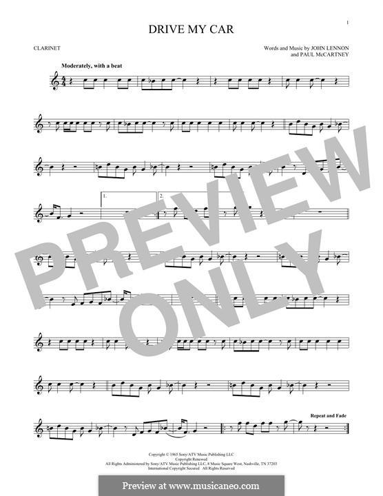 Drive My Car (The Beatles): For clarinet by John Lennon, Paul McCartney