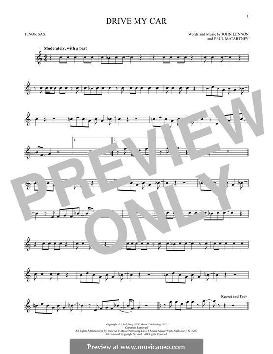 Drive My Car (The Beatles): For tenor saxophone by John Lennon, Paul McCartney