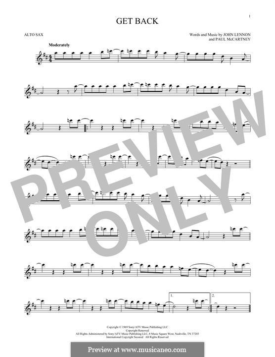 Get Back (The Beatles): For alto saxophone by John Lennon, Paul McCartney