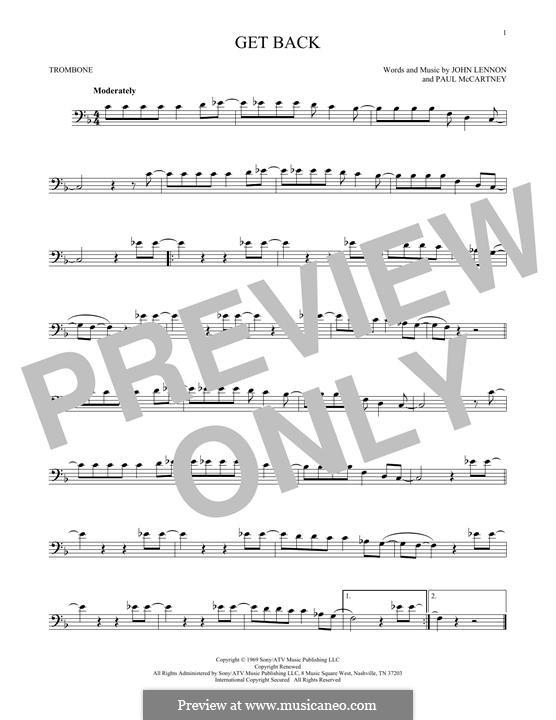 Get Back (The Beatles): For trombone by John Lennon, Paul McCartney