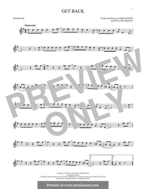 Get Back (The Beatles): For tenor saxophone by John Lennon, Paul McCartney