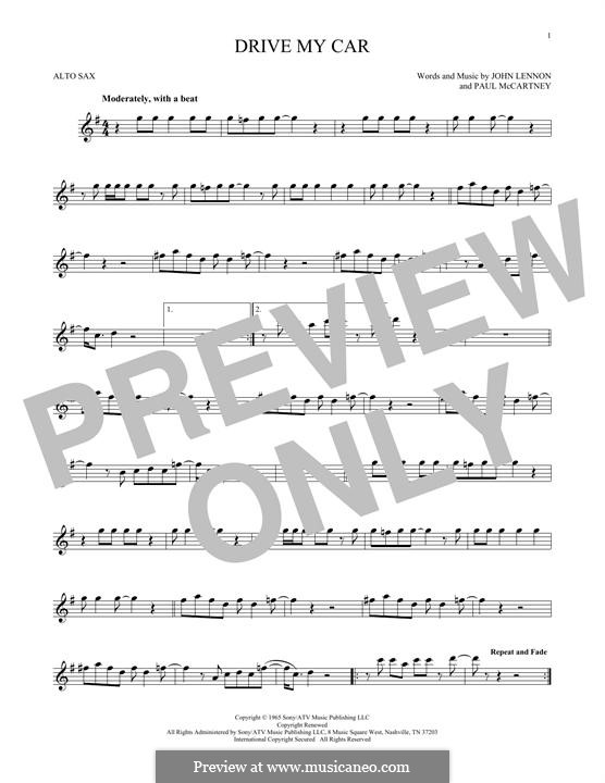 Drive My Car (The Beatles): For alto saxophone by John Lennon, Paul McCartney