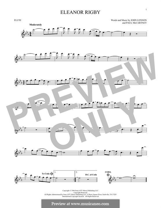 Eleanor Rigby (The Beatles): For flute by John Lennon, Paul McCartney