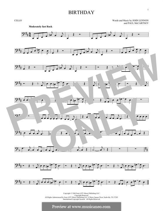 Birthday (The Beatles): For cello by John Lennon, Paul McCartney