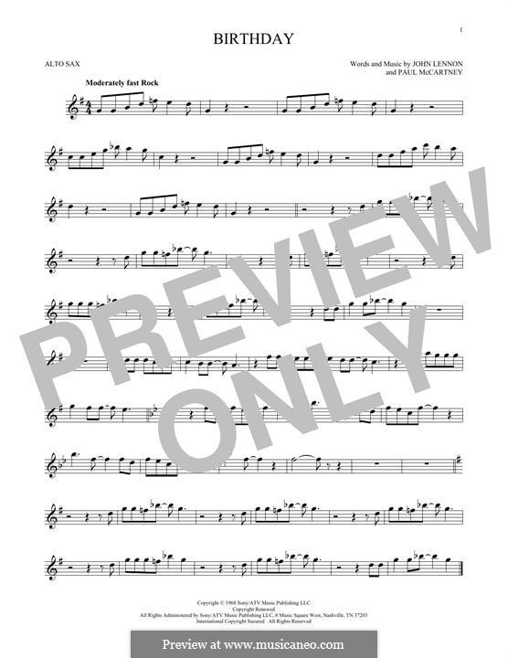 Birthday (The Beatles): For alto saxophone by John Lennon, Paul McCartney