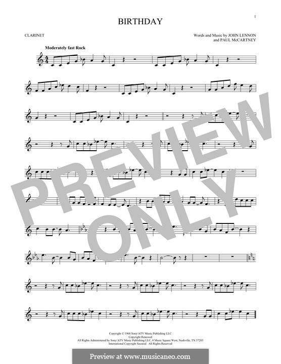 Birthday (The Beatles): For clarinet by John Lennon, Paul McCartney