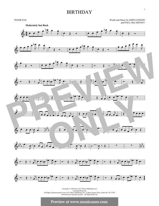 Birthday (The Beatles): For tenor saxophone by John Lennon, Paul McCartney
