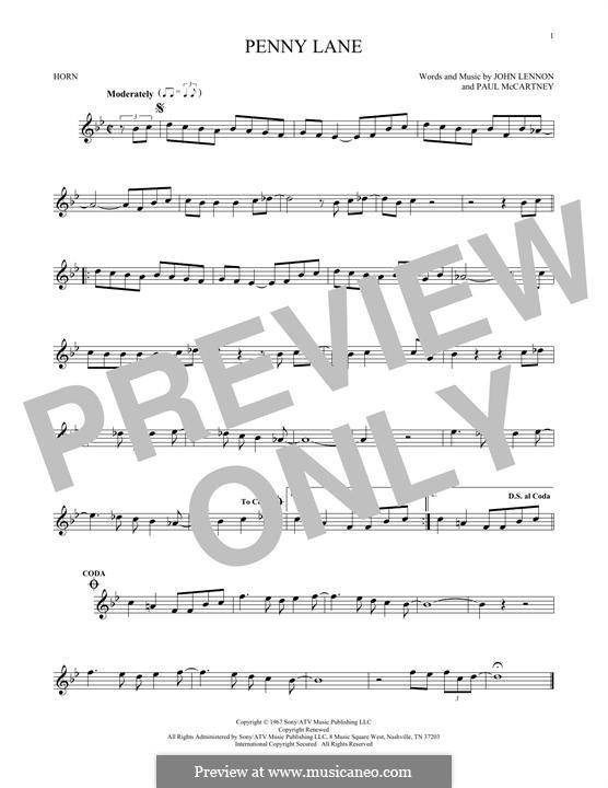 Penny Lane (The Beatles): For horn by John Lennon, Paul McCartney