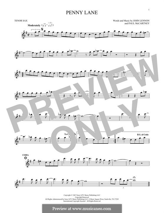 Penny Lane (The Beatles): For tenor saxophone by John Lennon, Paul McCartney