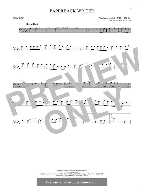 Paperback Writer (The Beatles): For trombone by John Lennon, Paul McCartney