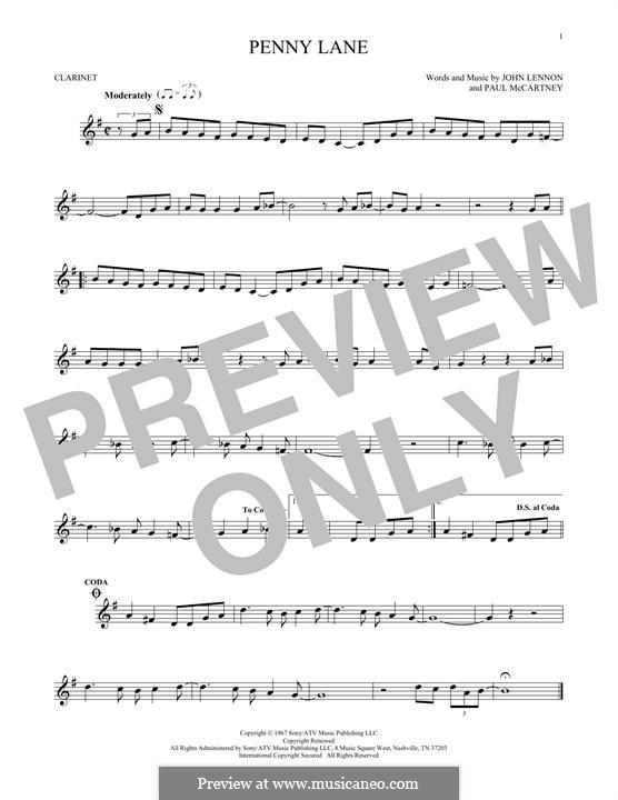 Penny Lane (The Beatles): For clarinet by John Lennon, Paul McCartney