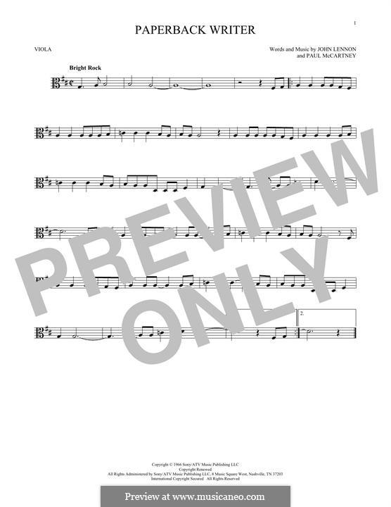 Paperback Writer (The Beatles): For viola by John Lennon, Paul McCartney
