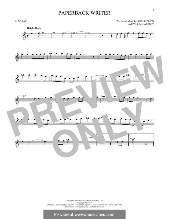 Paperback Writer (The Beatles): For alto saxophone by John Lennon, Paul McCartney
