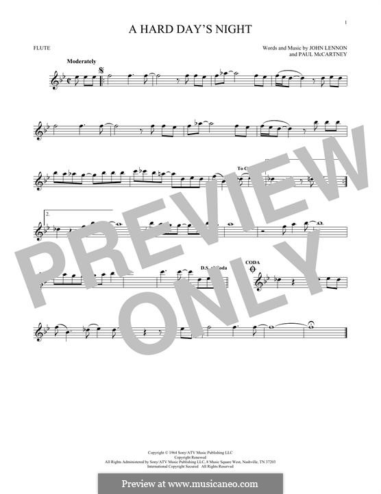 A Hard Day's Night (The Beatles): For flute by John Lennon, Paul McCartney
