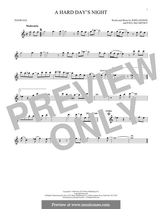A Hard Day's Night (The Beatles): For tenor saxophone by John Lennon, Paul McCartney