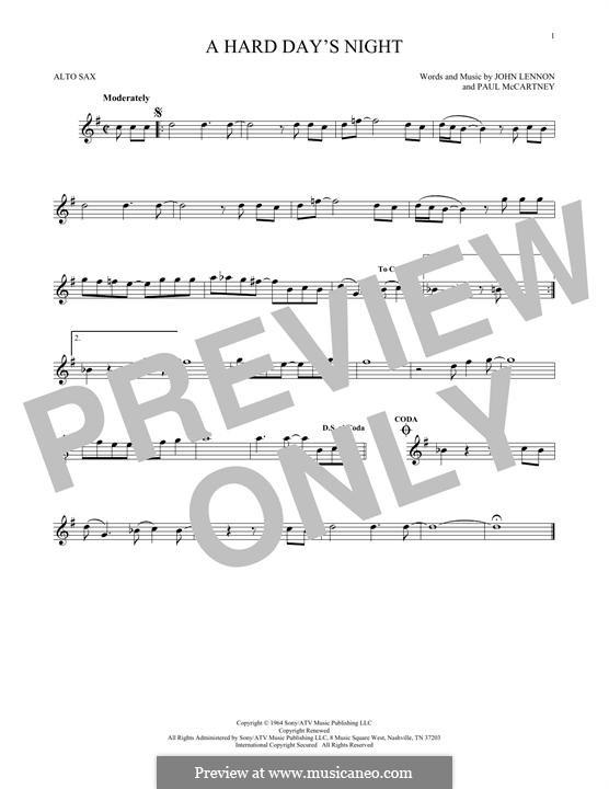 A Hard Day's Night (The Beatles): For alto saxophone by John Lennon, Paul McCartney