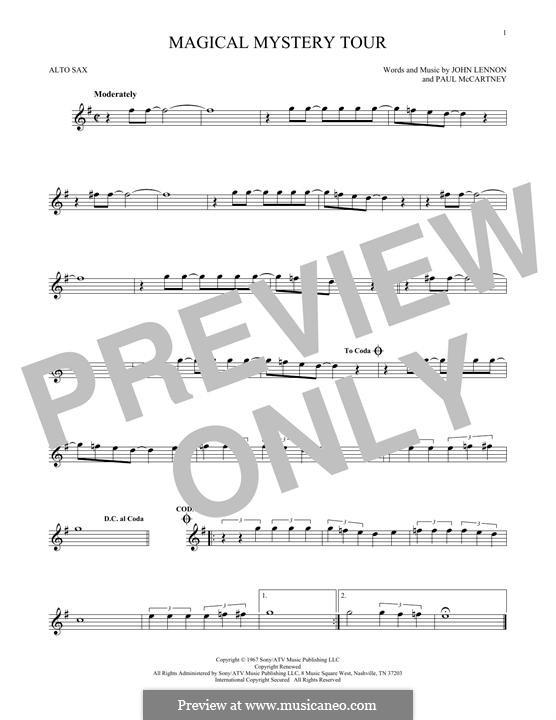 Magical Mystery Tour (The Beatles): For alto saxophone by John Lennon, Paul McCartney