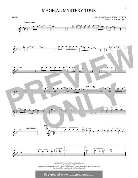 Magical Mystery Tour (The Beatles): For flute by John Lennon, Paul McCartney