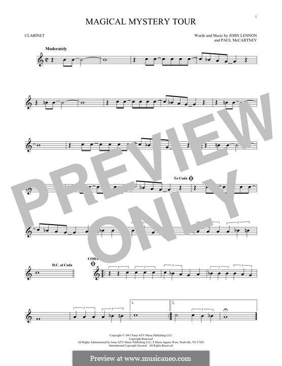 Magical Mystery Tour (The Beatles): For clarinet by John Lennon, Paul McCartney