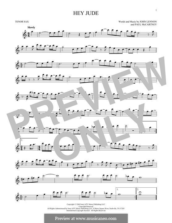 Hey Jude (The Beatles): For tenor saxophone by John Lennon, Paul McCartney