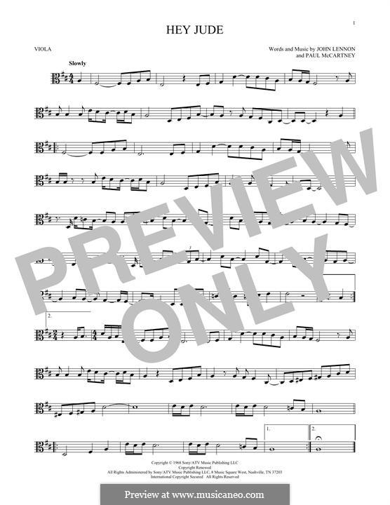 Hey Jude (The Beatles): For viola by John Lennon, Paul McCartney