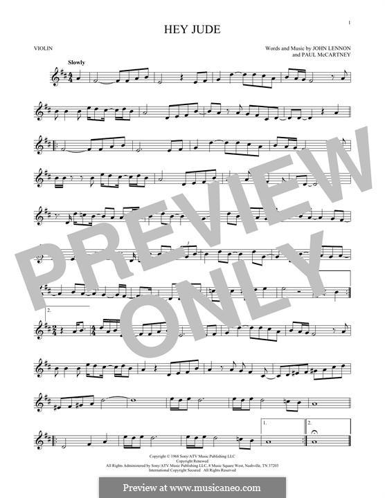 Hey Jude (The Beatles): For violin by John Lennon, Paul McCartney