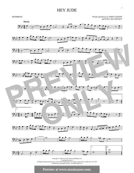 Hey Jude (The Beatles): For trombone by John Lennon, Paul McCartney