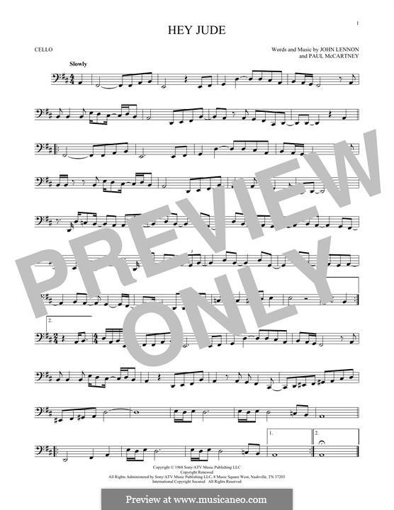 Hey Jude (The Beatles): For cello by John Lennon, Paul McCartney