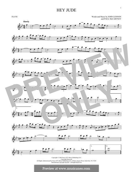 Hey Jude (The Beatles): For flute by John Lennon, Paul McCartney