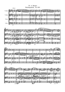 String Quartet No.18 in A Major, K.464: Full score by Wolfgang Amadeus Mozart