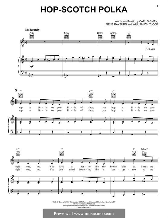 Hop-Scotch Polka: For voice and piano (or guitar) by Carl Sigman, William Whitlock