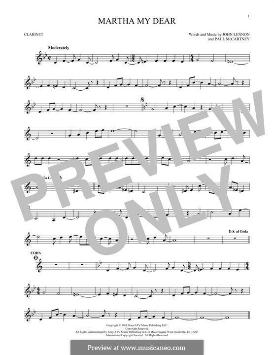 Martha My Dear (The Beatles): For clarinet by John Lennon, Paul McCartney
