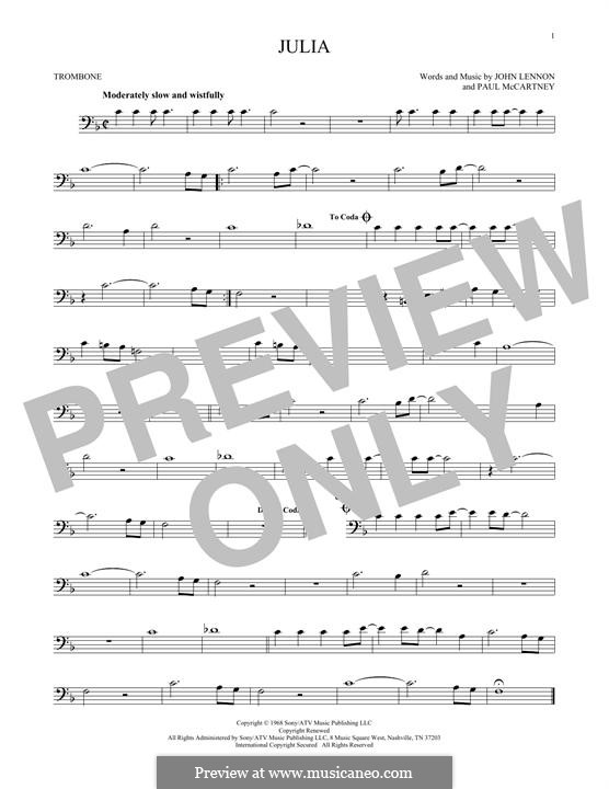 Julia (The Beatles): For trombone by John Lennon, Paul McCartney