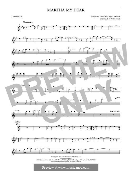 Martha My Dear (The Beatles): For tenor saxophone by John Lennon, Paul McCartney