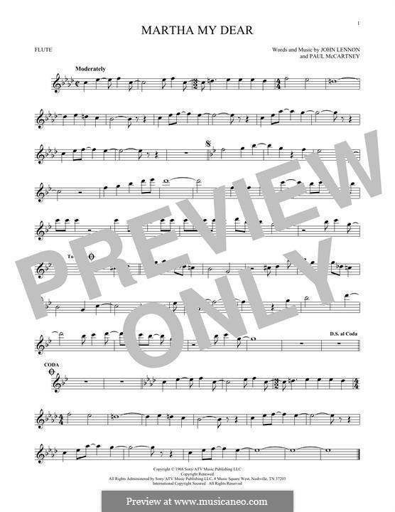 Martha My Dear (The Beatles): For flute by John Lennon, Paul McCartney