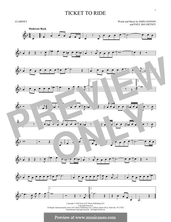 Ticket to Ride (The Beatles): For clarinet by John Lennon, Paul McCartney