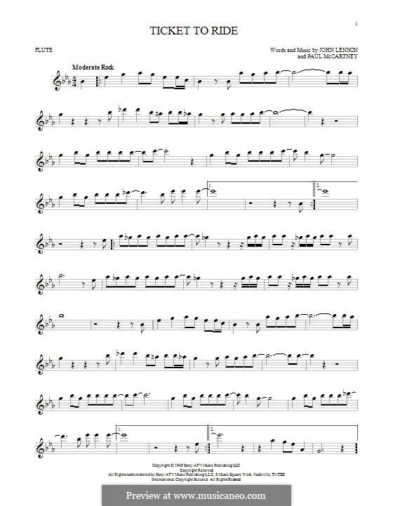 Ticket to Ride (The Beatles): For flute by John Lennon, Paul McCartney