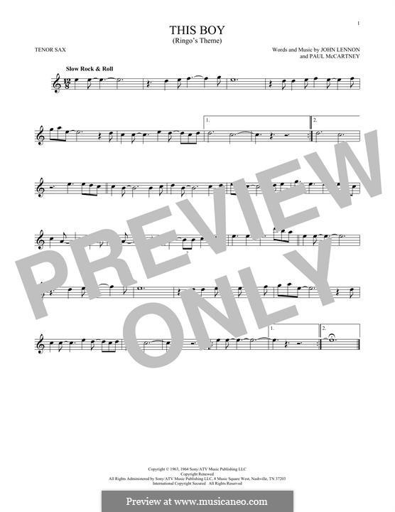 This Boy (Ringo's Theme): For tenor saxophone by John Lennon, Paul McCartney