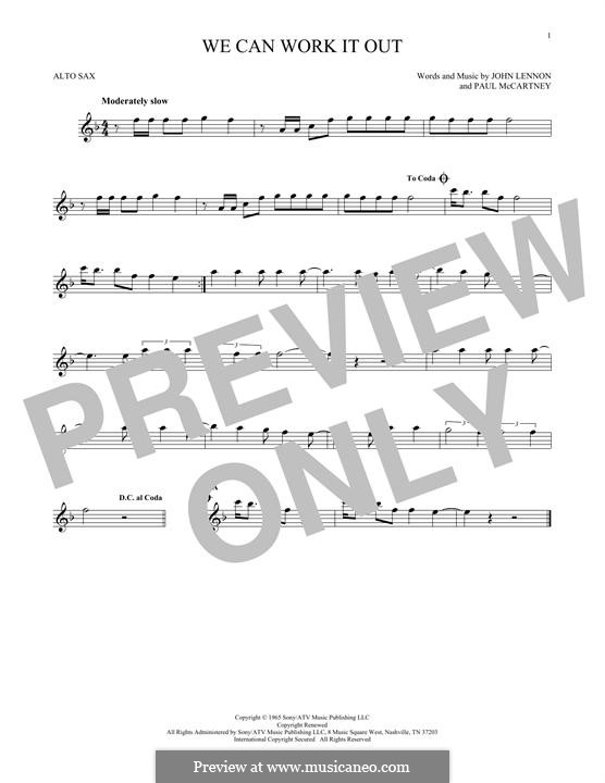 We Can Work it Out (The Beatles): For alto saxophone by John Lennon, Paul McCartney