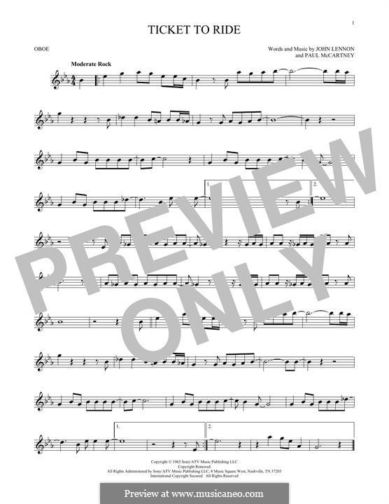 Ticket to Ride (The Beatles): For oboe by John Lennon, Paul McCartney